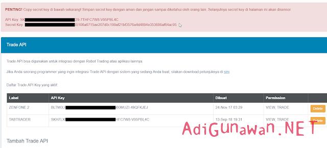pembuatan Trade API indodax