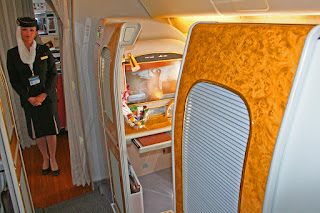 First Class enclosed suite aboard Emirates Boeing 777