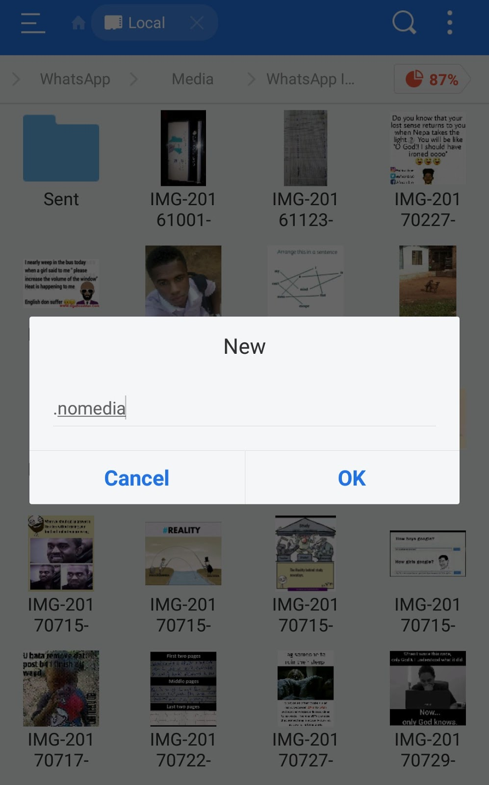 creating the nomedia file