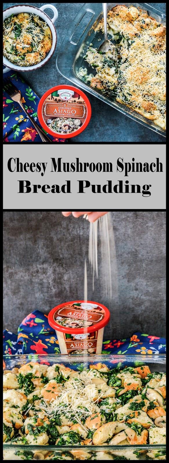 Mushroom Spinach Bread Pudding