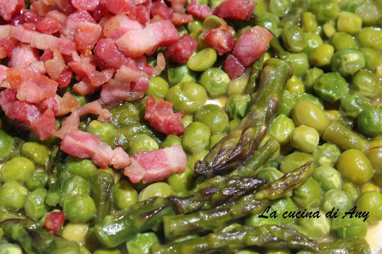La cucina di any pasta con piselli asparagi e pancetta for Cucinare asparagi