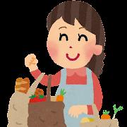買い物のイラスト「野菜とパンを買う主婦」
