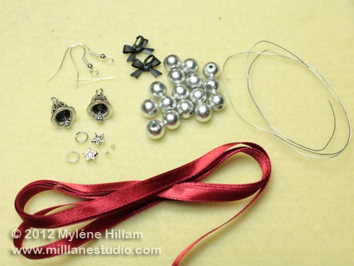 Beads, charms and findings needed for the Jingle Bell wreath earrings.