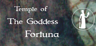 Temple of Fortuna dot com multicolor rectangular banner with words and image