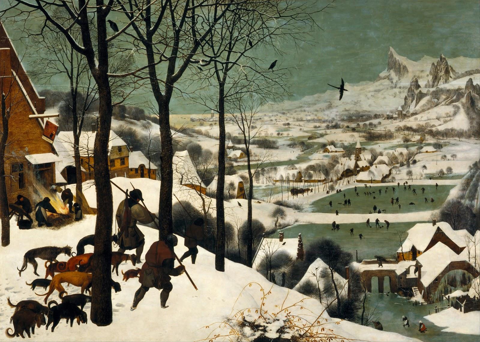 ピーテル・ブリューゲルの雪中の狩人(連作月暦画の十二月と一月)