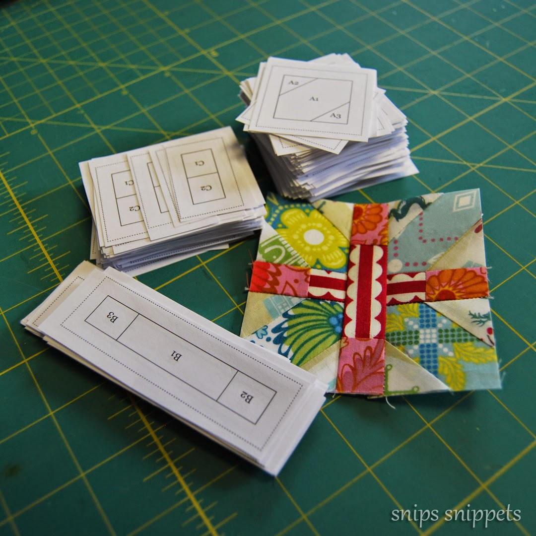 3 inch paper pieced +x block