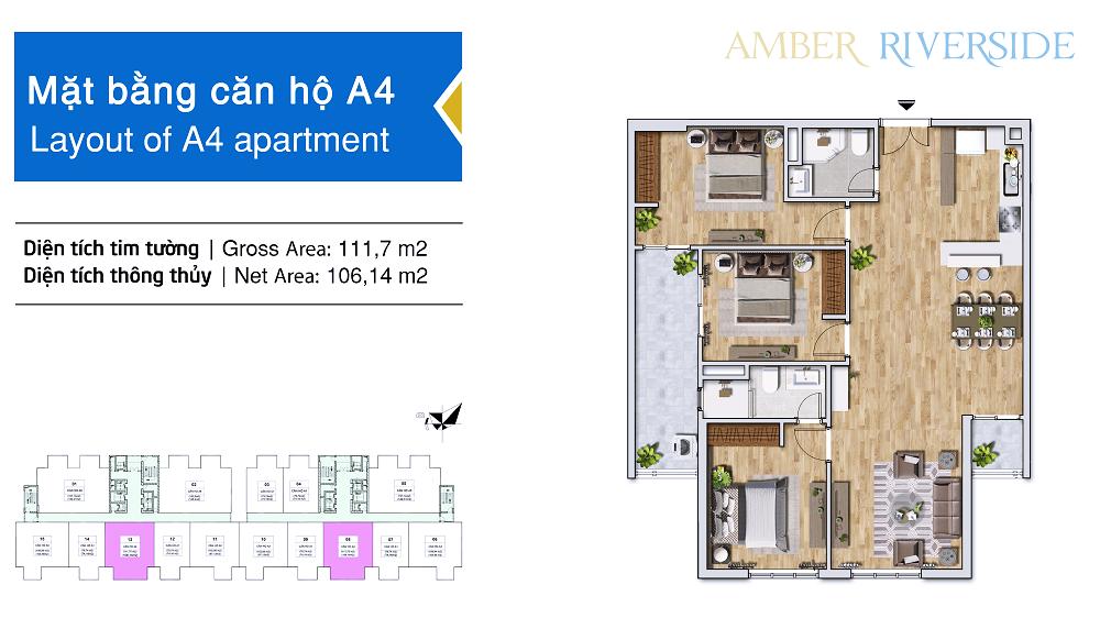 Thiết kế căn hộ A4 dự án Amber Riverside Minh Khai
