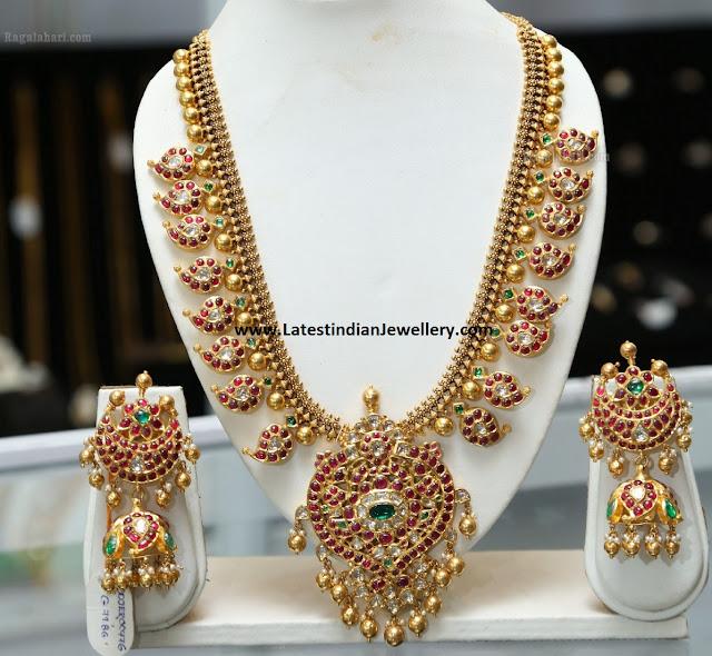 Mango Mala Jhumka Set by Sunitha