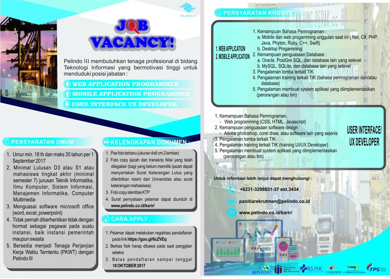 Lowongan Kerja Terbaru PT Pelabuhan Indonesia III (Persero)