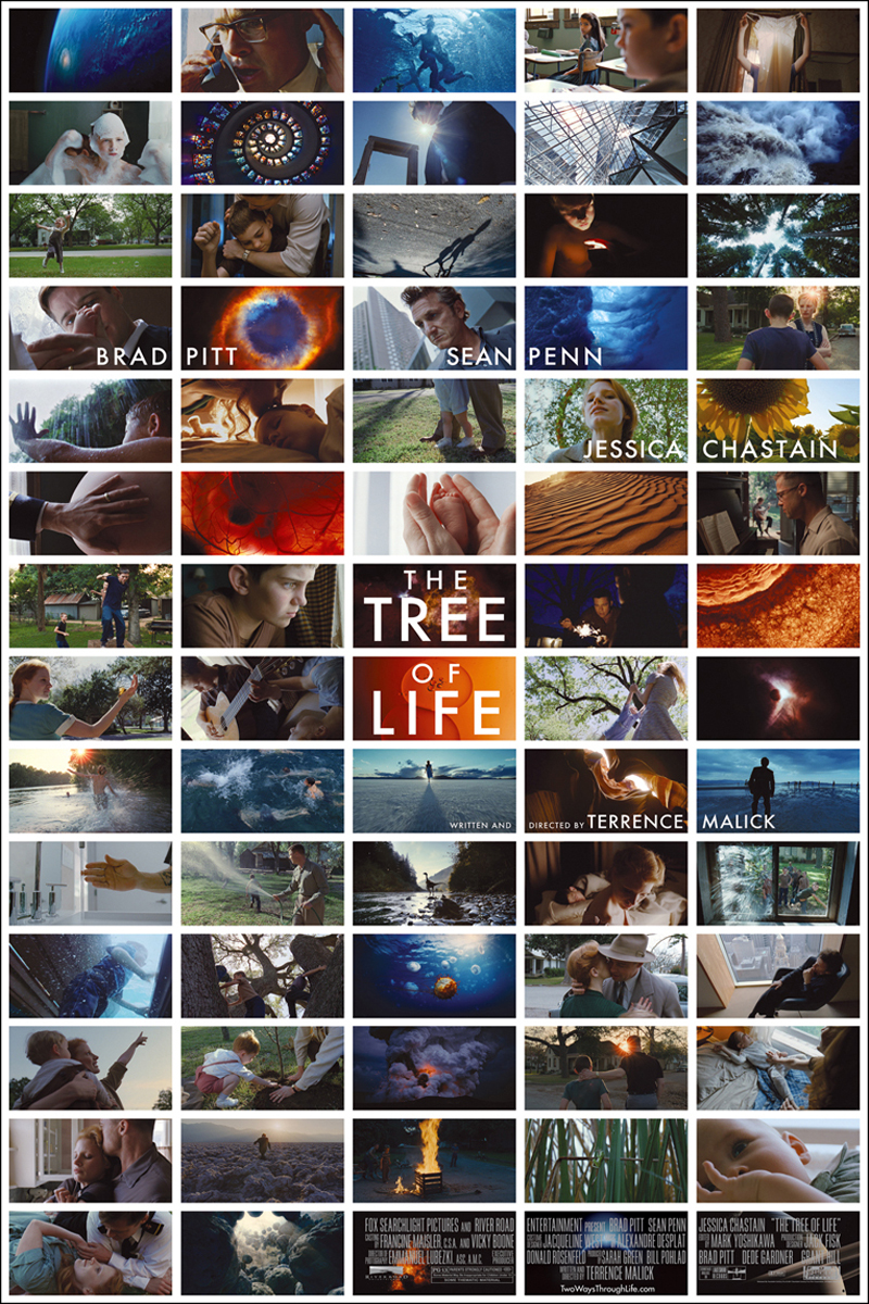 The theatrical release poster for The Tree of Life. The poster is composed of 70 separate panels. Within each panel is a still frame from the movie. Within the two center panels, the title of the film is shown over top of the images.