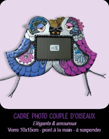 cadre photo couple d'oiseaux en carton à suspendre _ modèle enfant _ peint à la main _ par Cartons Dudulle