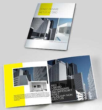 İçinde apartman ve bina resimleri olan kare şeklindeki katalog