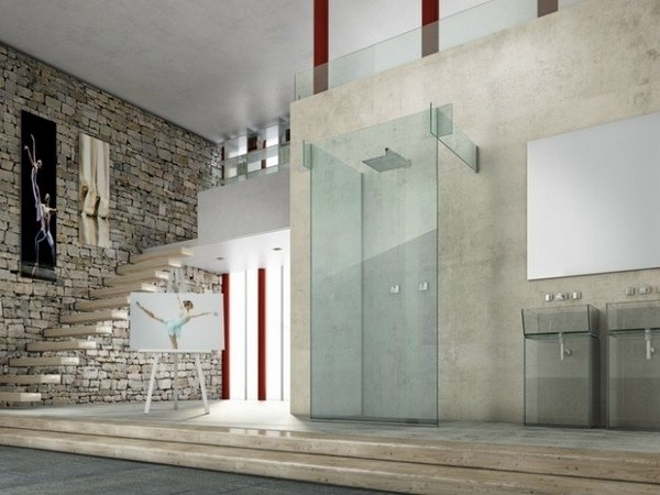 Modern Glass Shower Ideas Partition Walls