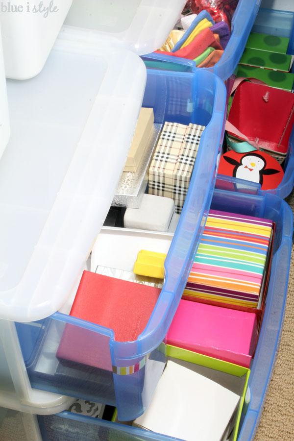 organizing with style an organized gift wrap closet blue i style