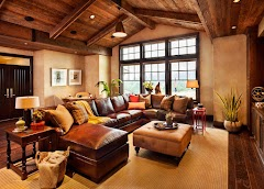 Brown and Rustic Living Room Interior