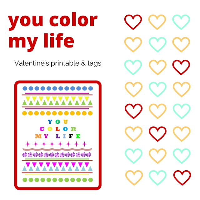 You Color My Life - free Valentine's printable & tags