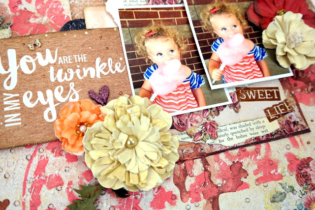 Paper and Embellishment Layering on a Shabby Chic Scrapbook Layout by Dana Tatar