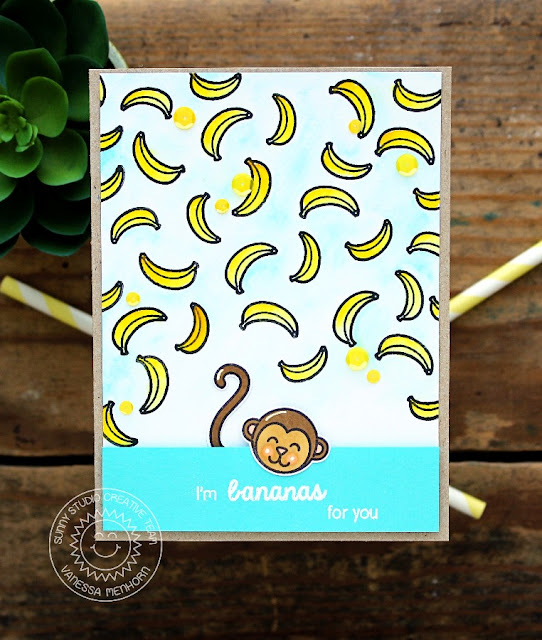 Sunny Studio Stamps: Comfy Creatures & Summer Picnic Bananas For You Monkey Card by Vanessa Menhorn