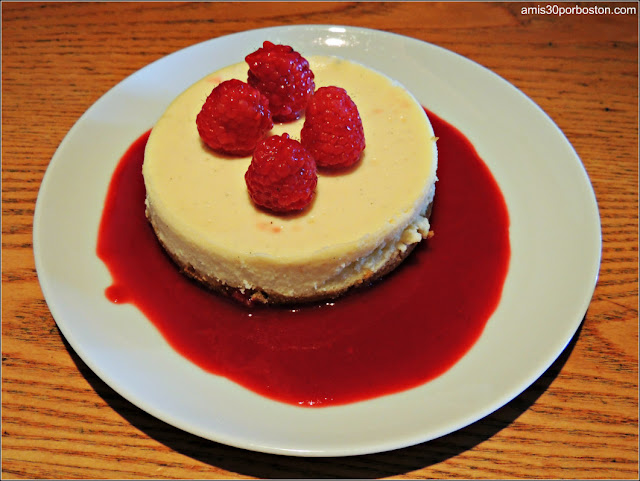 Vanilla Bean Cheesecake with Raspberry Sauce