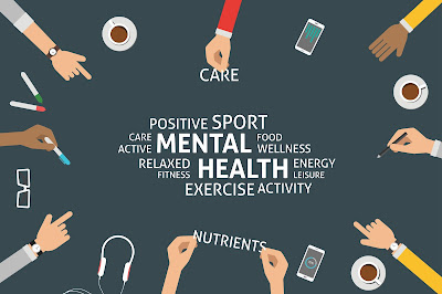 "charcoal background. hands on the border, with coffee cups, glasses, markers, phones and headphones pointing to white text reading "" Care, positive sport, care, active, mental health, food, wellness, relaxed, fitness, energy, leisure, exercise, activity, nutrients"""