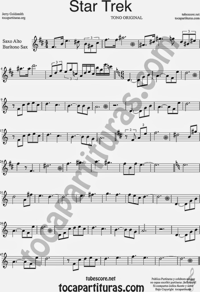 Star Trek Partitura de Saxofón Alto y Sax Barítono Sheet Music for Alto and Baritone Saxophone Music Scores Jerry Goldsmitsh TONO ORIGINAL