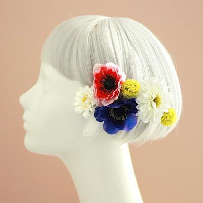 アネモネとジニアの髪飾り_ウェディングブーケと花髪飾りairaka