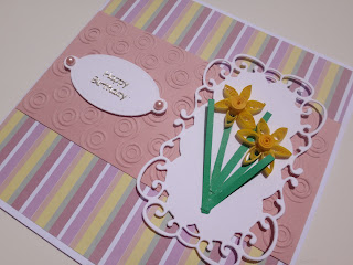 Quilled daffodil birthday card