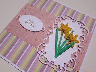 Quilled daffodil birthday card