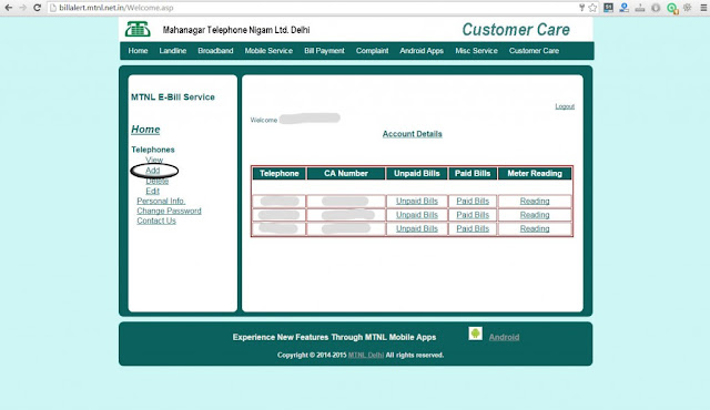 MTNL bill payment online Delhi - Account Details