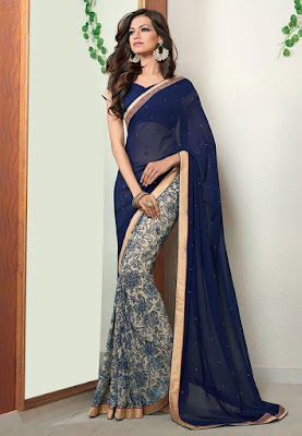 Indian Model Girl In Dark Blue and Off White Faux Georgette Saree With Blouse.