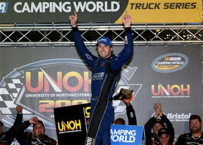 Winner, Ben Kennedy, driver of the #33 Jacob Chevrolet, celebrates at Bristol