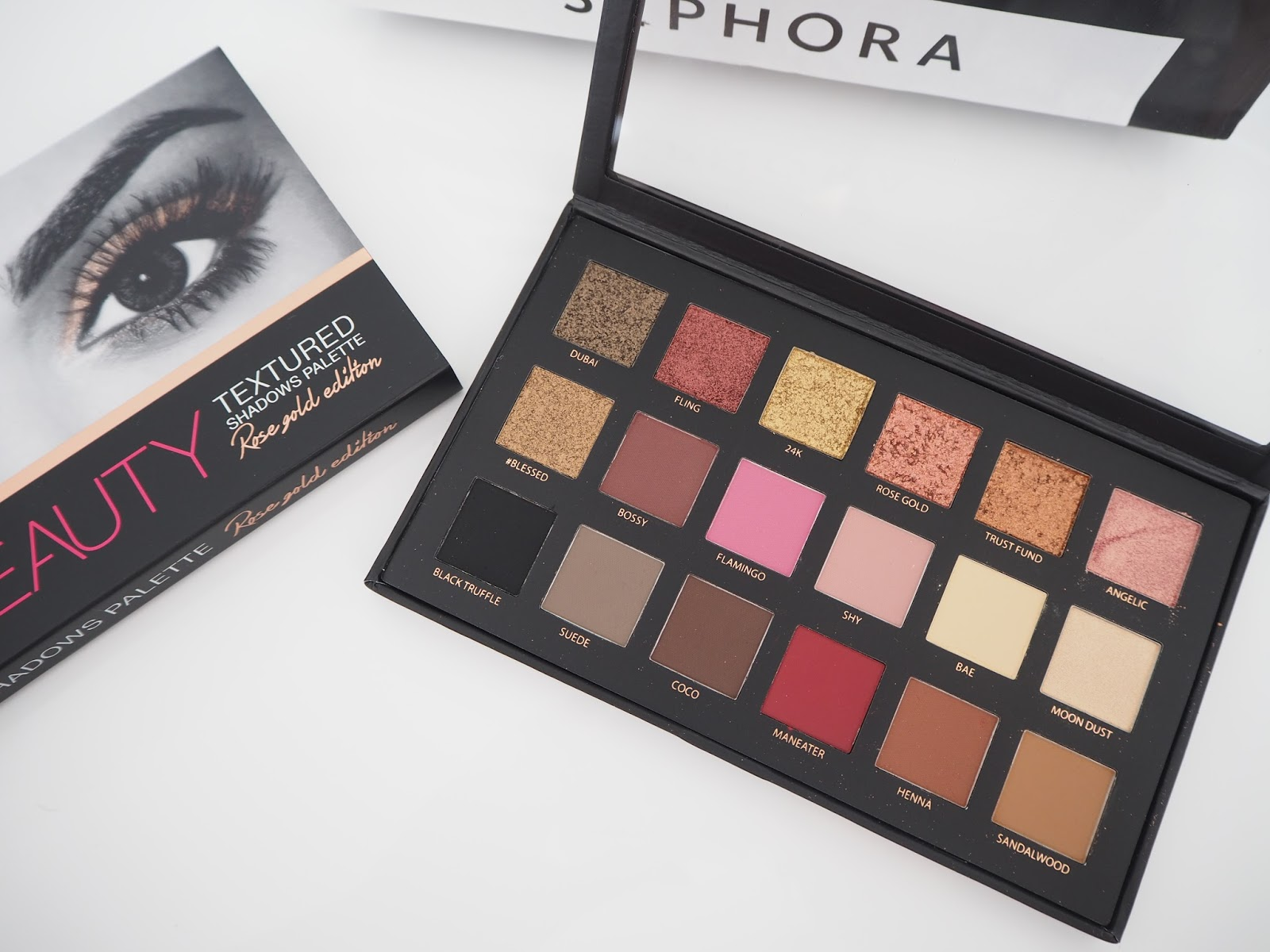 Huda Beauty Textured Eye Shadow Palette-Rose Gold Edition review