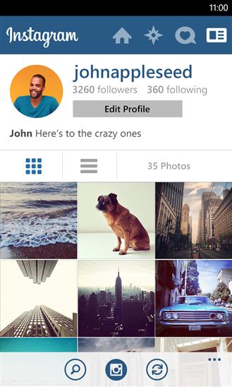 Official Instagram untuk Windows Phone 8 profil