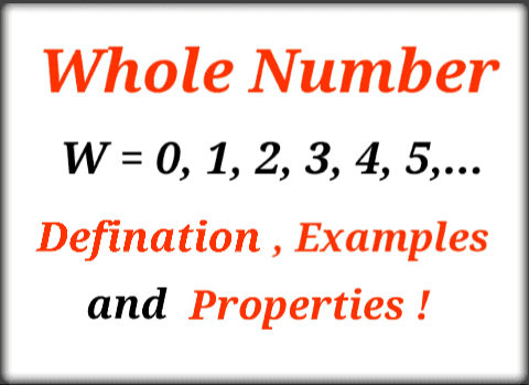 whole number defination with example and properties in hindi - maths