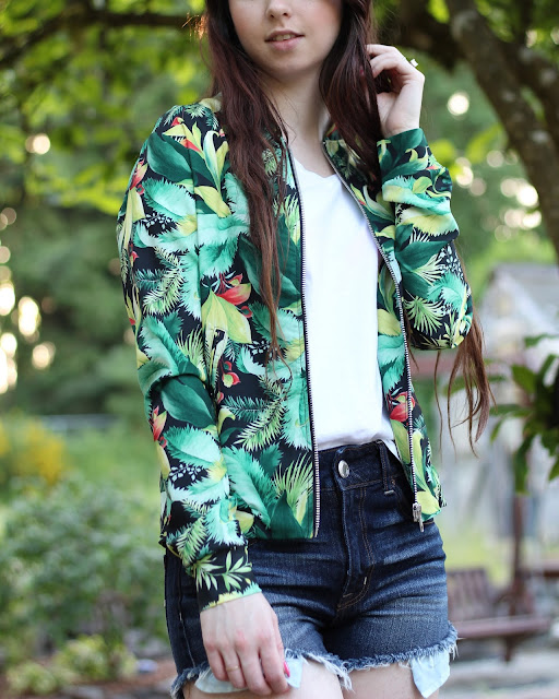 tropical lightweight bomber jacket