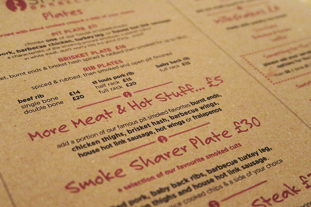 Smoke Barbecue Leeds menu
