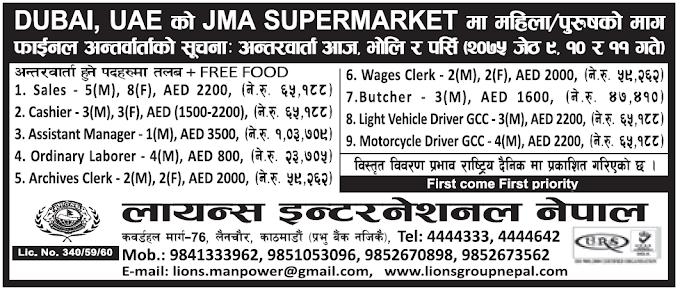 Jobs in Dubai for Nepali, Salary Rs 1,03,709