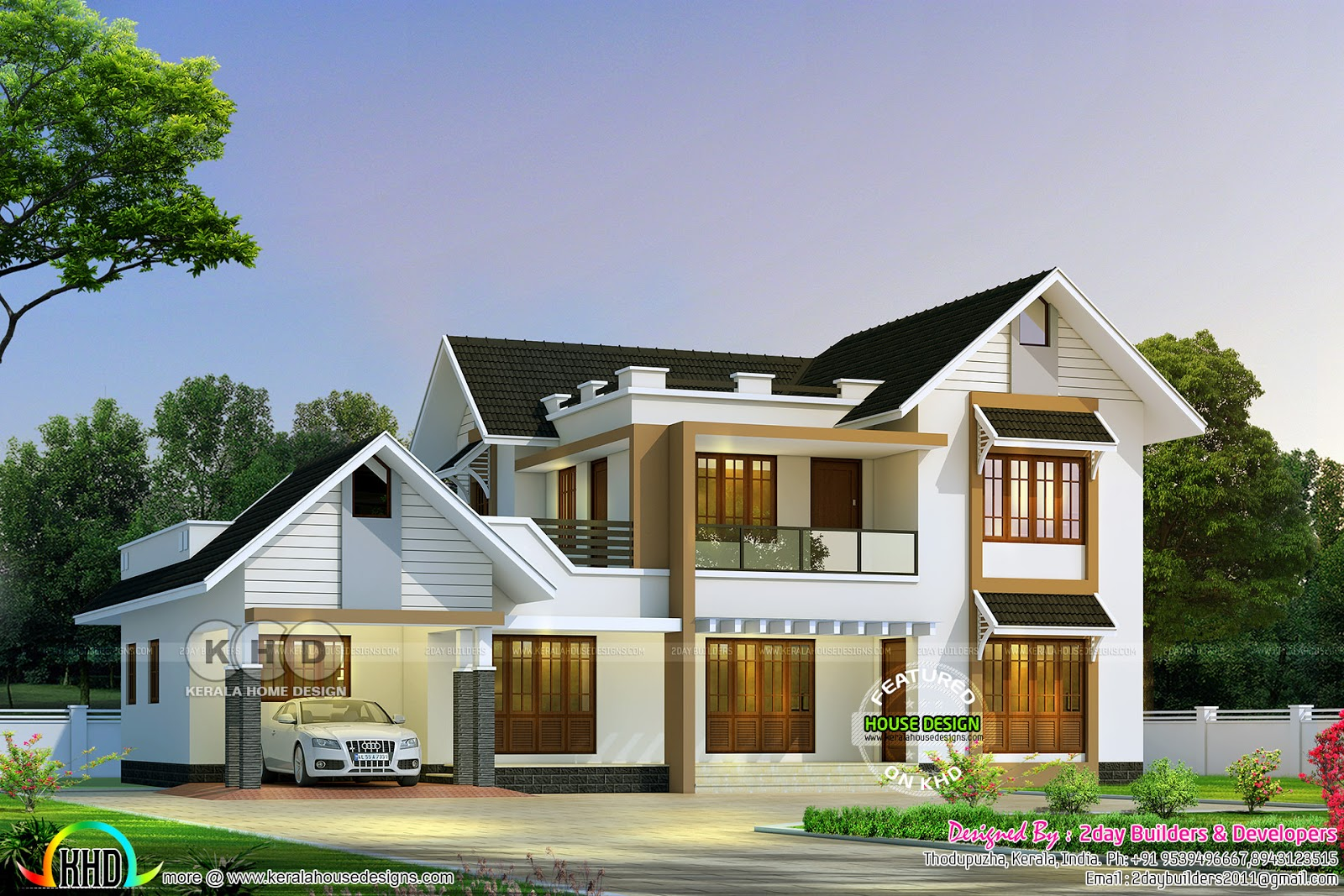 2017 kerala home design and floor plans for House plans in kerala with 2 bedrooms