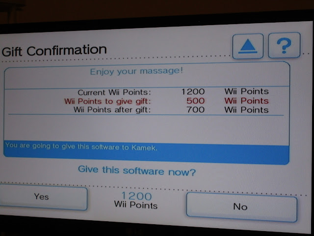 WiiWare gifting Wii Shop Channel Enjoy your massage!