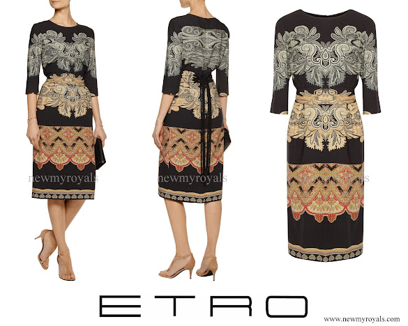Crown Princess Mary wore ETRO Belted printed wool dress