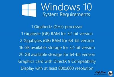 متطلبات تشغيل ويندوز 10 علي اي كمبيوتر Windows 10 requirements