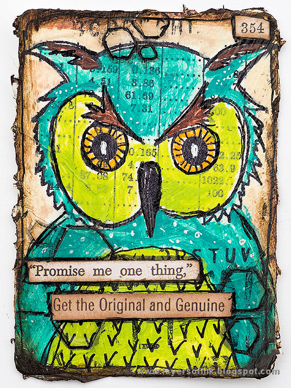 Layers of ink - Mixed Media Owl ATC by Anna-Karin Evaldsson