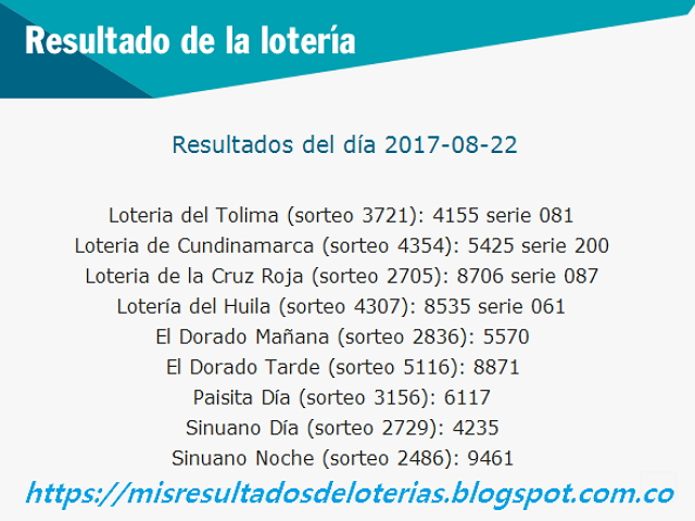 Como jugo la lotería anoche | Resultados diarios de la lotería y el chance | resultados del dia 22-08-2017