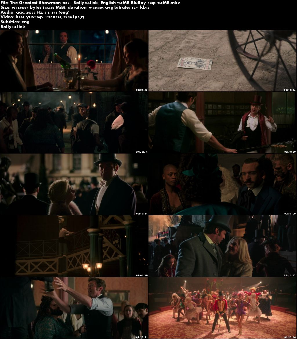The Greatest Showman 2017 BluRay 300MB English 480p ESub Download