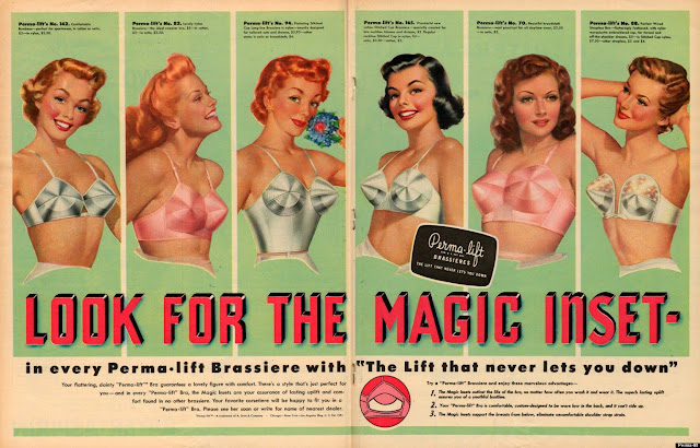Perma Life Brassiers. Vintage print ad. Pushup Bras and Academics. marchmatron.com