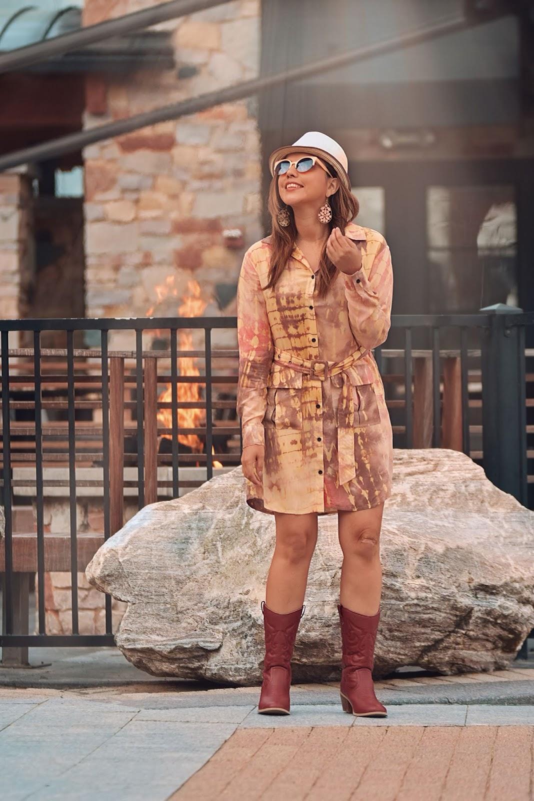 Dye Shirt Dress-MariEstilo-coachella-dessert vibes-festivalmood-dcblogger-streetstyle-cowboy boots-