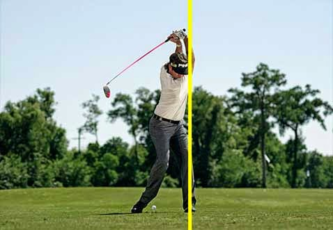 position of Bubba's knee at top of backswing