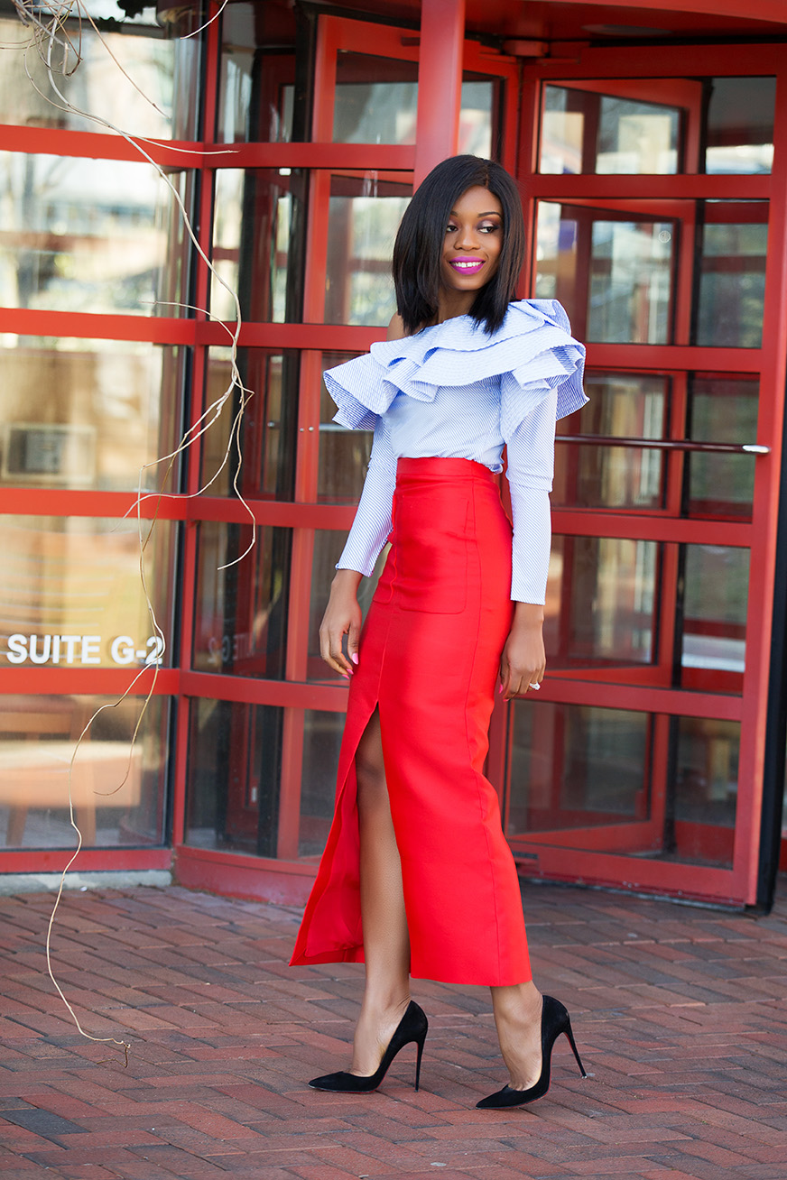 Ruffles off shoulder top and pencil skirt, www.jadore-fashion.com