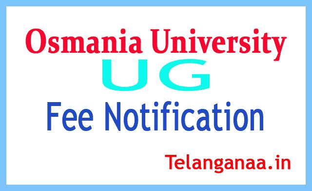 Osmania University OU UG  Examination Fee Notification