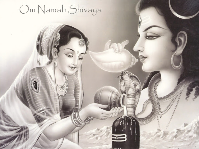 Lord Shiva & Parvathi Black and White Wallpaper